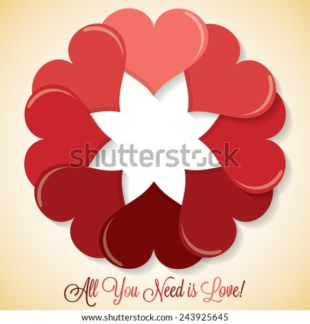 Circle of hearts in vector format. - stock vector