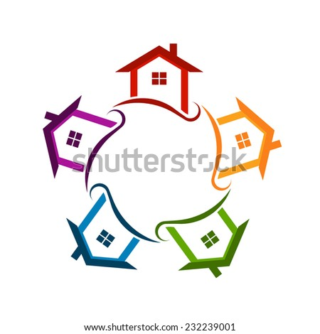 Circle of houses. Vector icon - stock vector