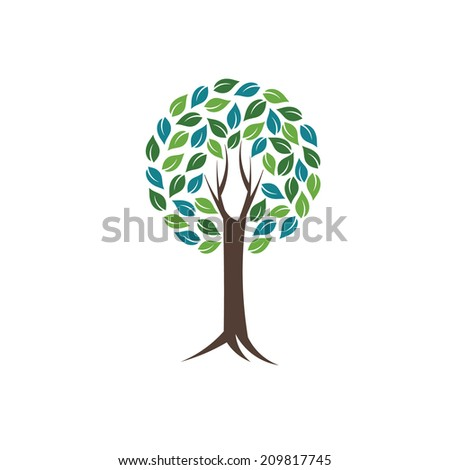 Circle of life tree image. Concept of world nature and life.Vector icon  - stock vector