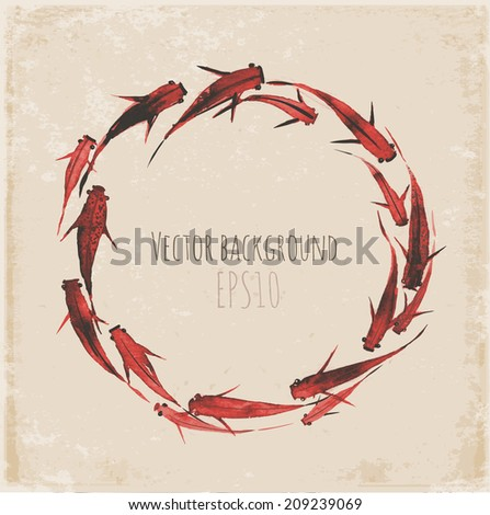 Circle of little red fishes hand drawn in traditional Japanese style sumi-e. Vector illustration. - stock vector