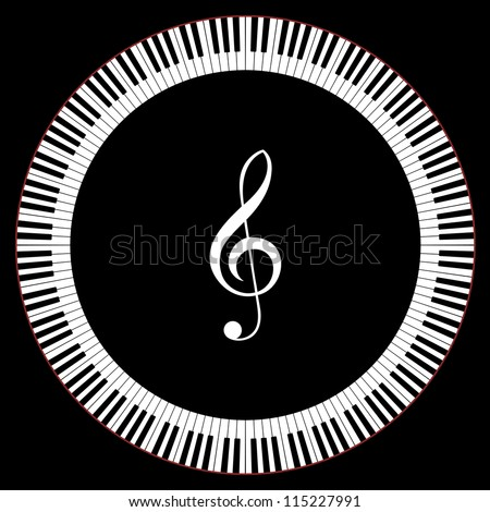 Circle of Piano Keys With Treble Clef Vector Illustration - stock vector