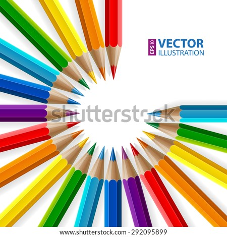 Circle of rainbow colored pencils with realistic shadows on white background. RGB EPS 10 vector illustration - stock vector