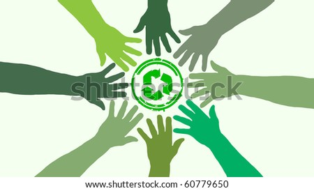 circle of vector hands and ecology symbol in the middle - stock vector