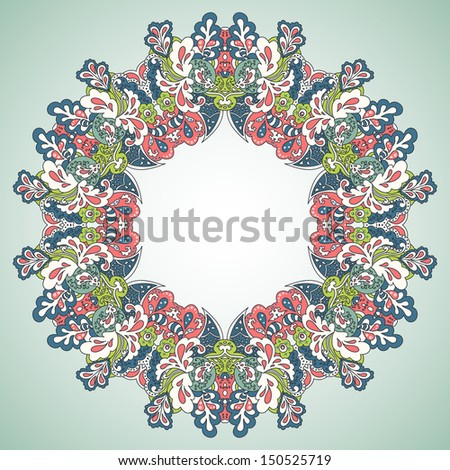 Circle ornament. Greeting card with flowers in vector.