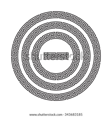 Circle ornament meander. Round frame, rosette of ancient elements. Greek national antique round pattern, vector. Rectangular pulse. Ancient seamless meandros border - stock vector