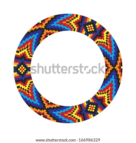 Circle ornament. Round frame, rosette. Native american (indian) round pattern, vector. - stock vector
