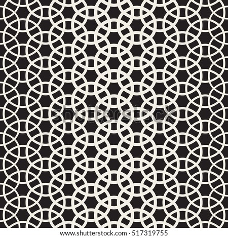 Circle Overlapping Shapes Lattice. Abstract Geometric Background Design. Vector Seamless Black and White Pattern.