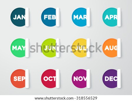 Circle Paper Cut Out Notes With Months For Calendar  - stock vector