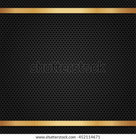Circle perforated carbon speaker grill texture with gold metal background.