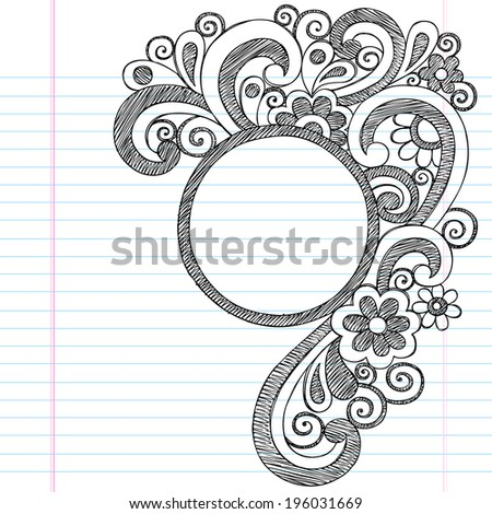 Circle Picture Frame Border Back to School Sketchy Notebook Doodles- Illustration Design Element on Lined Sketchbook Paper Background - stock vector