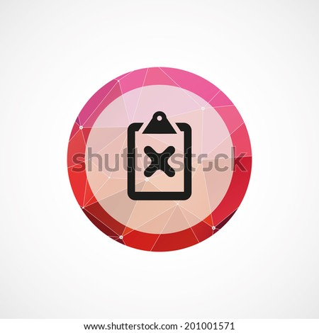 circle pink triangle background  cancel icon - stock vector