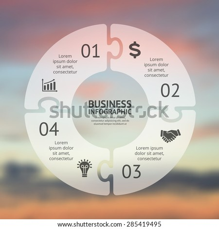 Circle puzzle infographic. Template for cycle diagram, graph, presentation and round chart. Business concept with 4 options, parts, steps or processes. Vector blur background. Easy editable. - stock vector