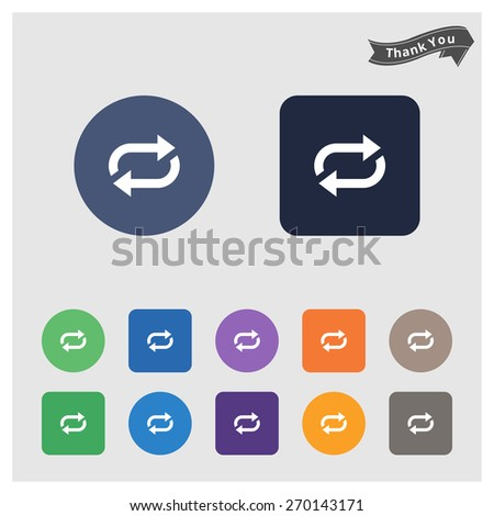 circle refresh reload rotation loop sign set arrow icon. flat solid color background circle and rectangular background. vector illustration - stock vector