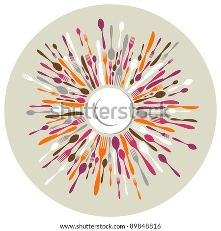 Circle restaurant background. Fork, knife and spoon silhouettes on different sizes and colors around white dish. Vector available - stock vector