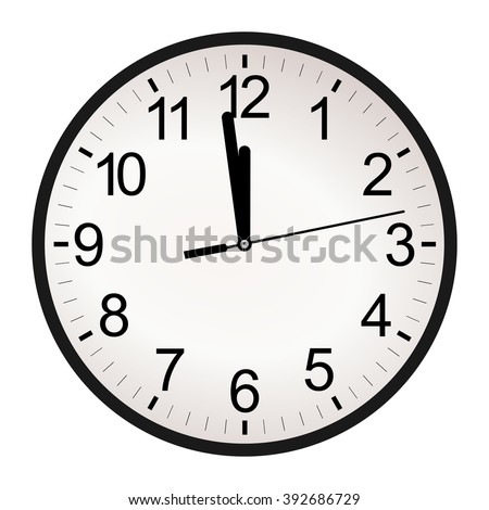 Circle retro analog wall clock with black hands and numbers with one minute left to 12 hour. 11:59 / 23:59 time vector art image illustration, isolated on white background, realistic design eps10 - stock vector