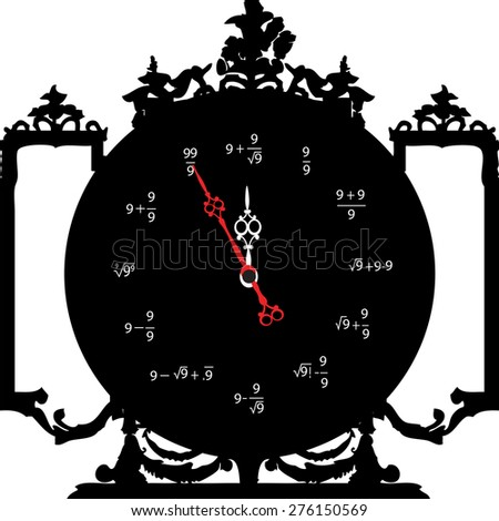 Circle retro analog wall clock with gold hands and calculate numbers with fifth minute left to 12 hour. 11:55 / 23:55 time vector art illustration, isolated on white background, realistic design eps10 - stock vector