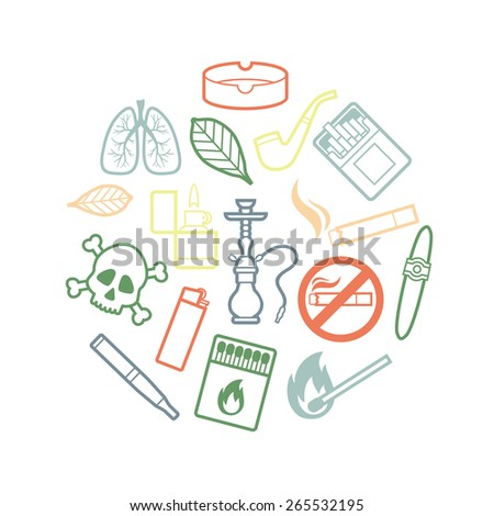 Circle set of silhouette of smoking icons. Vector illustration - stock vector