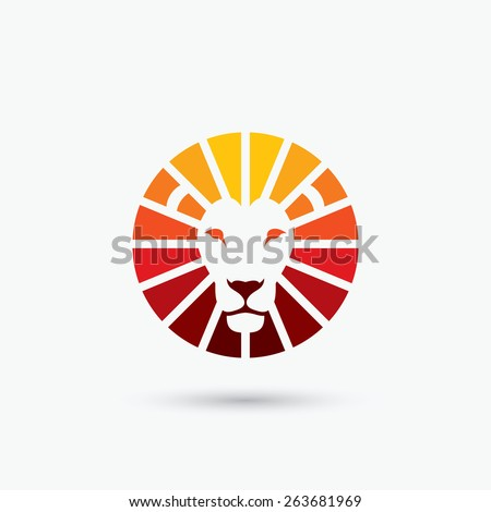 Circle shape lion sign - vector illustration - stock vector