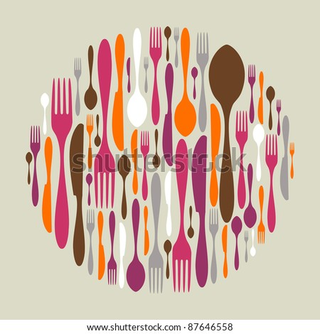 Circle shape made of cutlery icons. Fork, knife and spoon silhouettes. Vector available. - stock vector