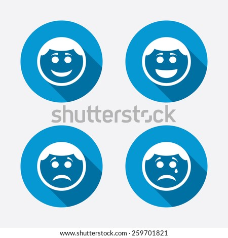 Circle smile face icons. Happy, sad, cry signs. Happy smiley chat symbol. Sadness depression and crying signs. Circle concept web buttons. Vector - stock vector