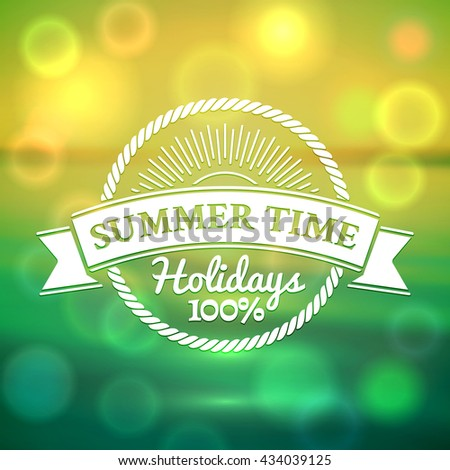 Circle summer badge on the bright green and yellow blurred sea background with bokeh - stock vector