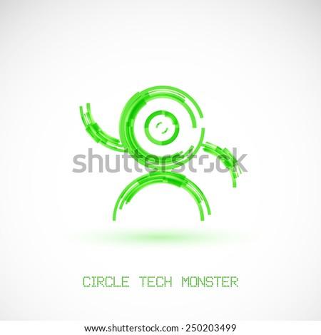 Circle tech monster. Design element. - stock vector