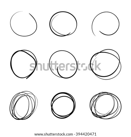 Scribble Circle Font Hand Drawn Numbers Stock Vector 439083511 ...