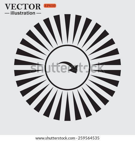 Circle. The sun. Rays. Black icons on white. arrow indicates the direction, vector illustration, EPS 10 - stock vector
