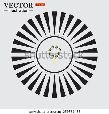 Circle. The sun. Rays. Black icons on white. Children's toy wind mill, turntables, pinwheel wind vane, vector illustration, EPS 10 - stock vector