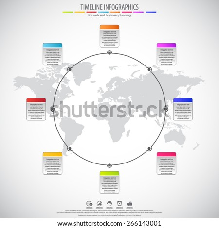 Circle timeline infographics. Flat style. Background with detailed world map