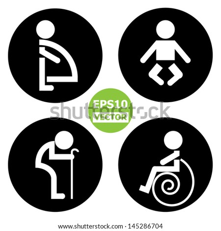 Circle Toilet Sign With Black Background Pregnant Women Baby Aged