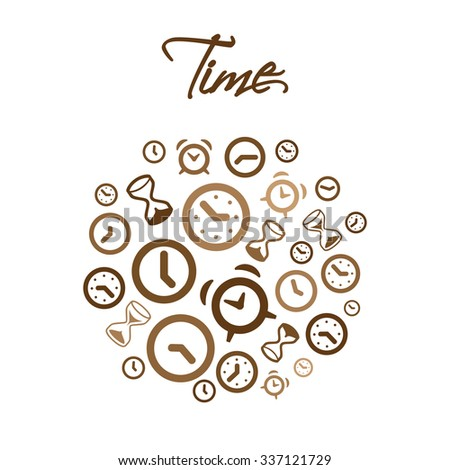 Circle vector design vector with clocks and alarms and Time lettering - stock vector