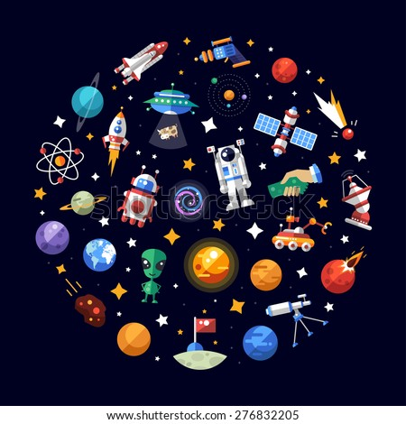 Circle vector flat design composition of space icons and infographics elements - stock vector