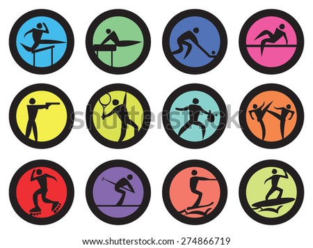 Circle vector icons for different sports competition and games isolated on white background.
