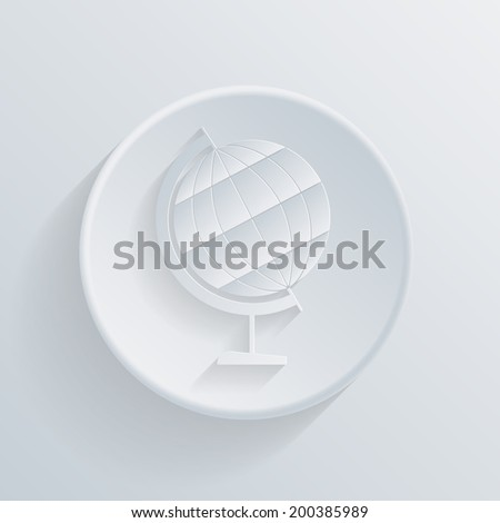 circle white paper icon with a long shadow. globe symbol of geography
