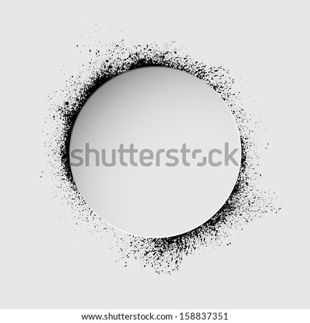 Circle with black ink blots. eps10 - stock vector