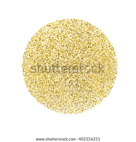 Circle with gold glitter particles on white background. Golden foil effect. - stock vector