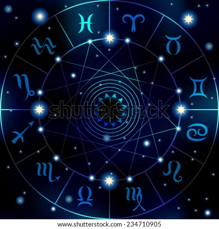 Circle with signs of zodiac on dark blur background. - stock vector