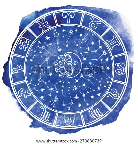 Circle with Zodiac sign.Horoscope constellation,stars ,sun and moon.Blue Watercolor stein,hand painting spot,sky.White background.Artistic Vector  Illustration.