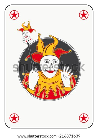 Circled joker playing card in red and orange costume - stock vector