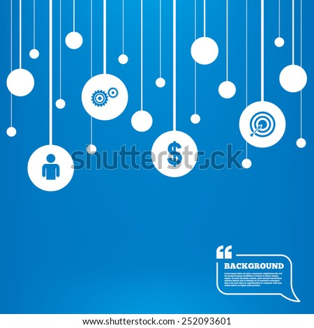 Circles background with lines. Business icons. Human silhouette and aim targer with arrow signs. Dollar currency and gear symbols. Icons tags hanged on the ropes. Vector - stock vector