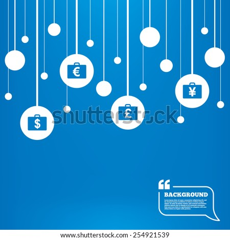 Circles background with lines. Businessman case icons. Cash money diplomat signs. Dollar, euro and pound symbols. Icons tags hanged on the ropes. Vector - stock vector