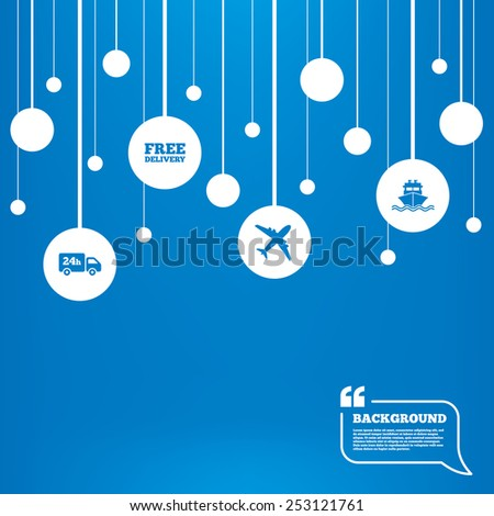 Circles background with lines. Cargo truck and shipping icons. Shipping and free delivery signs. Transport symbols. 24h service. Icons tags hanged on the ropes. Vector - stock vector