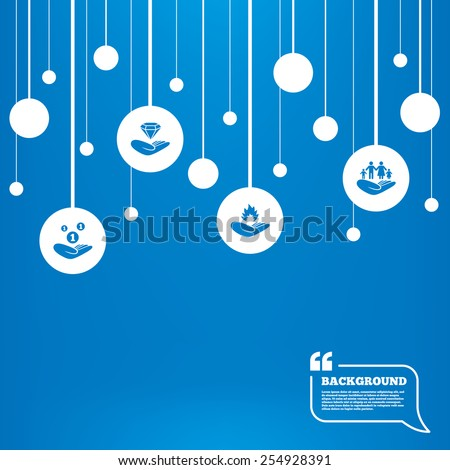 Circles background with lines. Helping hands icons. Financial money savings, family life insurance symbols. Diamond brilliant sign. Fire protection. Icons tags hanged on the ropes. Vector - stock vector