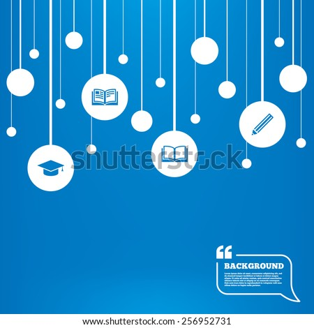 Circles background with lines. Pencil and open book icons. Graduation cap symbol. Higher education learn signs. Icons tags hanged on the ropes. Vector - stock vector