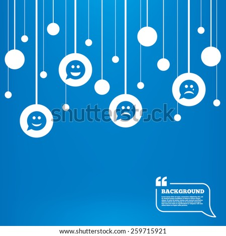 Circles background with lines. Speech bubble smile face icons. Happy, sad, cry signs. Happy smiley chat symbol. Sadness depression and crying signs. Icons tags hanged on the ropes. Vector - stock vector