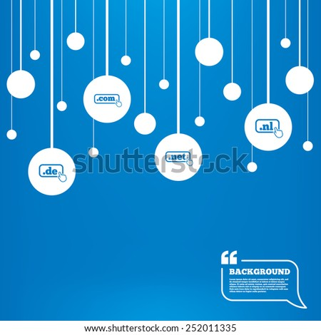 Circles background with lines. Top-level internet domain icons. De, Com, Net and Nl symbols with hand pointer. Unique national DNS names. Icons tags hanged on the ropes. Vector - stock vector