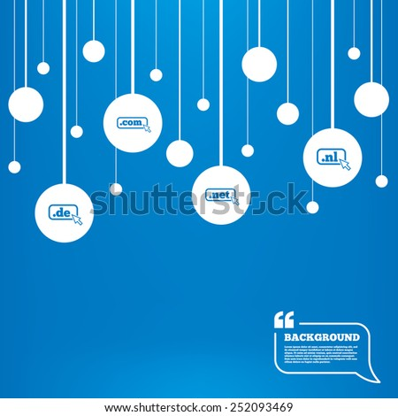 Circles background with lines. Top-level internet domain icons. De, Com, Net and Nl symbols with cursor pointer. Unique national DNS names. Icons tags hanged on the ropes. Vector - stock vector
