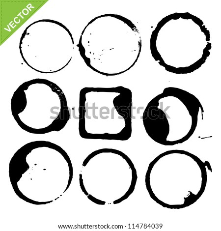 circles grunge of coffee cup vector - stock vector