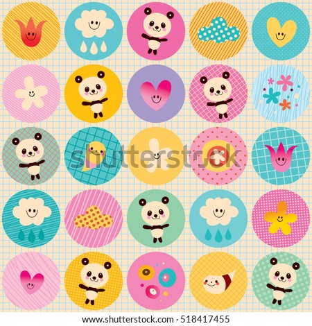 circles pattern baby panda bears flowers clouds with pastel colors and note book paper background